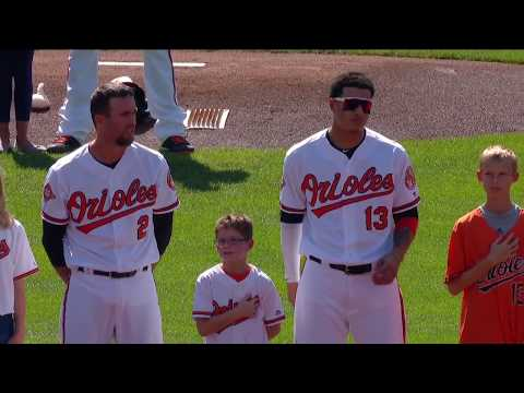 Young fans join Orioles for national anthem