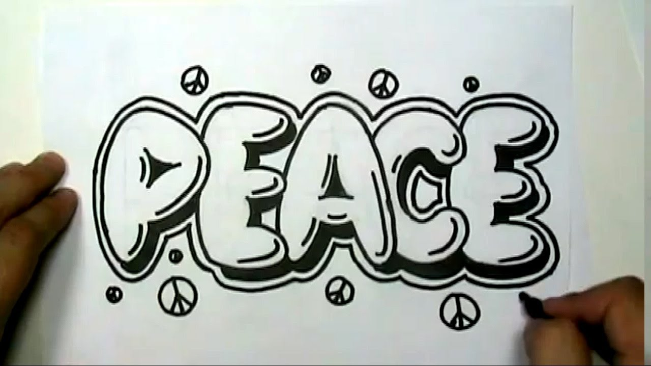 How to draw PEACE in Graffiti Letters - Write Peace in Bubble ...