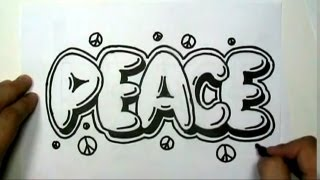 How to draw PEACE in Graffiti Letters - Write Peace in Bubble Letters - MAT(How to draw PEACE in Graffiti Letters - Write Peace in Bubble Letters, Writing PEACE graffiti style with an outline and a drop shadow is cool way to draw the ..., 2012-08-12T23:47:00.000Z)