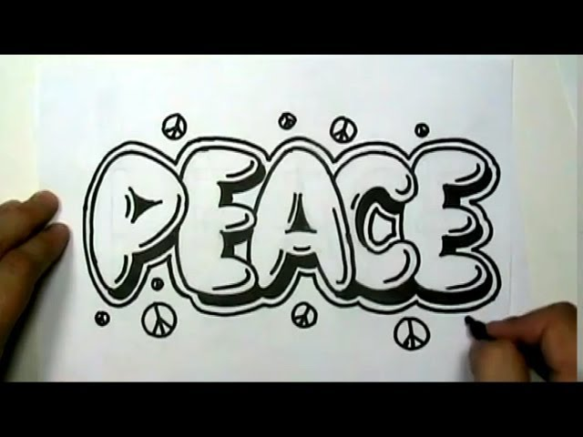 How to draw PEACE in Graffiti Letters - Write Peace in Bubble Letters - MAT Travel Video