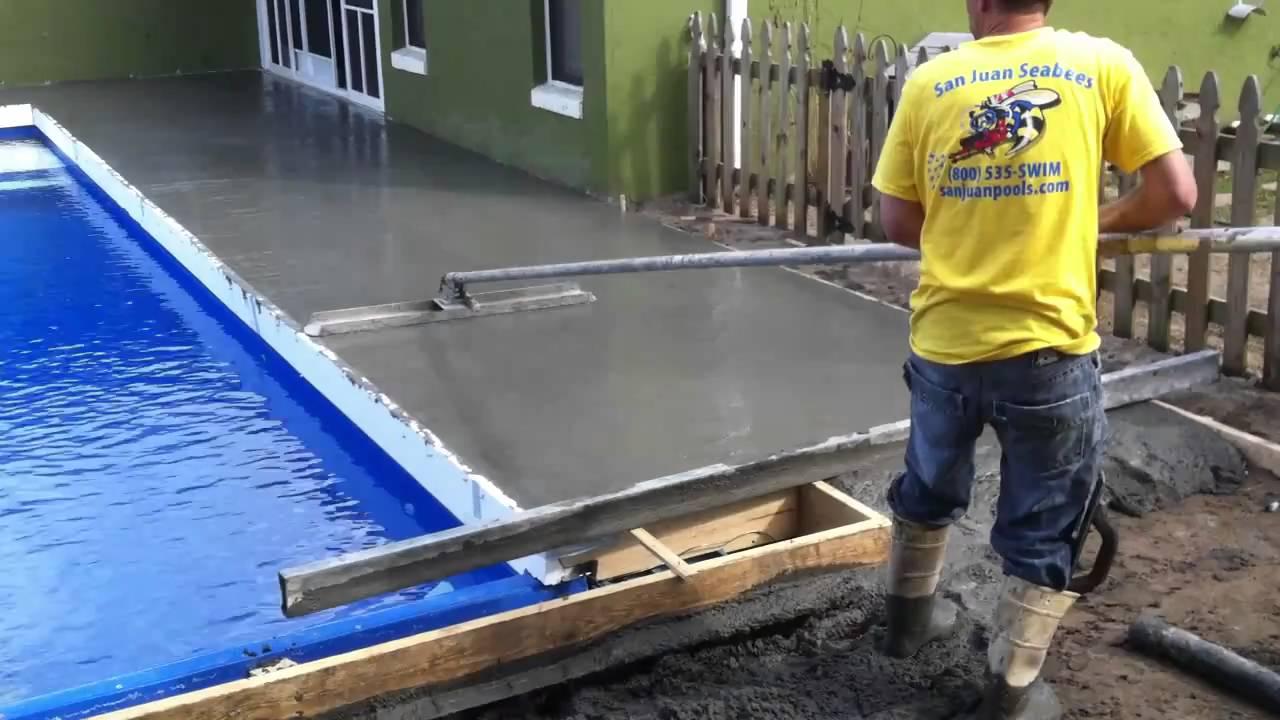 Fiberglass Pool Deck Poured San Juan Seabees Swimming Pools Youtube