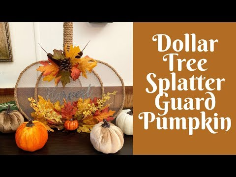 Dollar Tree Fall Crafts: Dollar Tree Splatter Guard/ Splatter Screen  Pumpkin