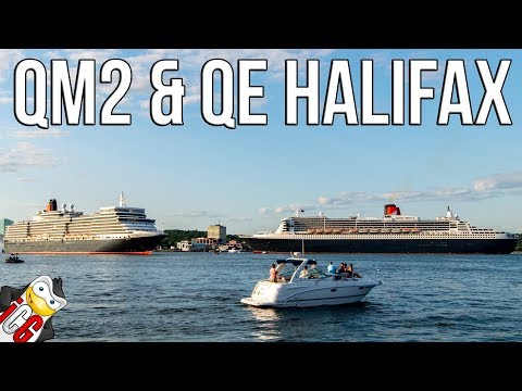 Queen Mary 2 and Queen Elizabeth Departing Halifax [4K] - Ju