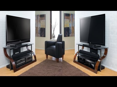 Bell 39 O Cw343 Curved Wood Audio Video Furniture For 27 To 55 Inch Tvs In A Rich European Mahogany