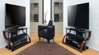 Bell'o Cw343 Curved Wood Audio Video Furniture For 27 To 55 Inch Tvs In A Rich European Mahogany