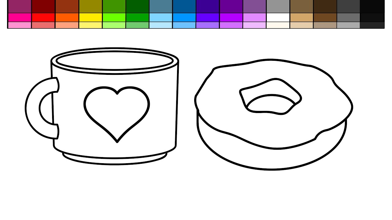 learn colors for kids and color coffee and donut coloring page rh youtube com bakery coloring pages food coloring pages - Donuts Coloring Pages