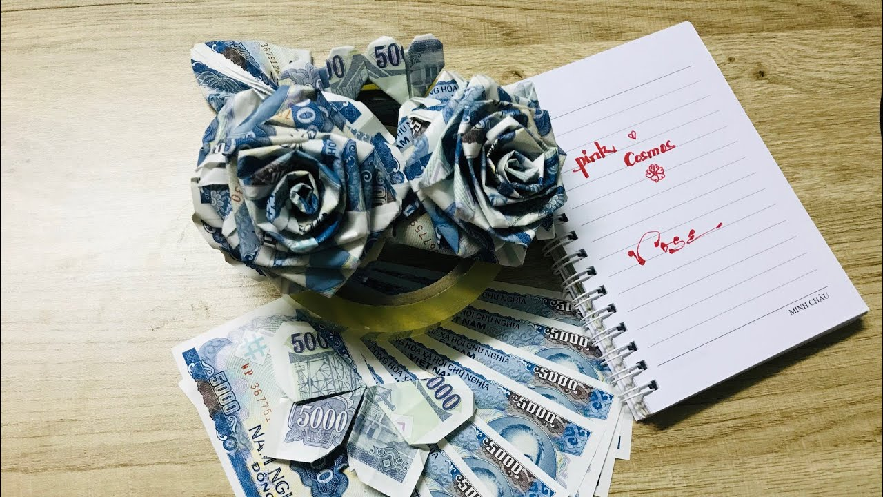 Origami: Làm hoa hồng bằng tiền giấy 3 (Make the rose by (bank) notes)