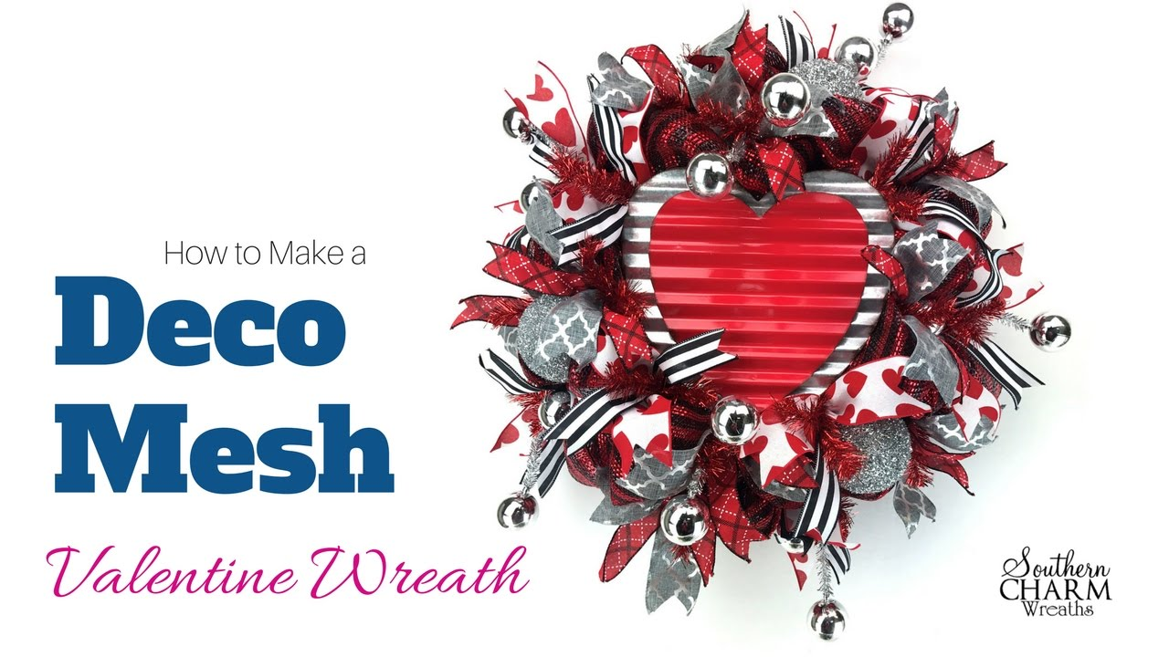 How To Make A Deco Mesh Valentine Wreath Youtube