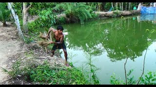 Net Fishing | Traditional cast net fishing in village | Fishing with a cast net (Part-45)