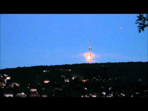 Full Moon rising behind Fernsehturm Stuttgart