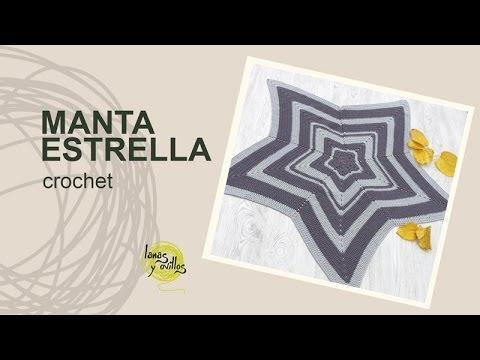 Tutorial Manta Estrella Crochet o Ganchillo en Español - YouTube