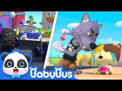 Bad Wolf Stole Baby Kitten's Lollipop | Monster Police Car, Fire Truck | Kids Songs | BabyBus