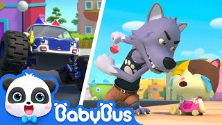 Bad Wolf Stole Baby Kitten's Lollipop | Monster Police Car, Fire Truck | Kids Songs | BabyBus