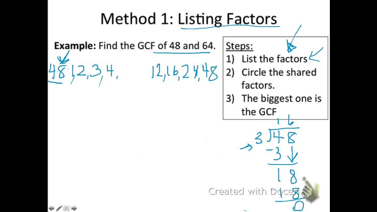worksheet List Of Factors gcf method 1 listing factors youtube factors