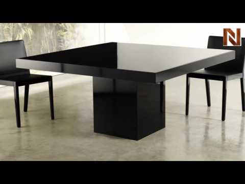 Modloft MJK25300 L5V5 Beech Dining Table Black Lacquer Black Glass