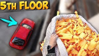 1000 SCREAMING CHICKENS FALL ON MY CAR FROM THE 5TH FLOOR!