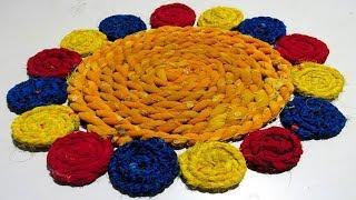 सिर्फ 10 मिनट में बनाएं ये सुन्दर पायदान बिना कुरेशिया और सिलाई मशीन के paydan banana | Door mat
