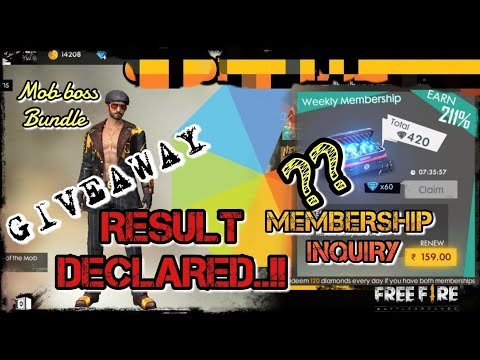 IGL GIVEAWAY RESULT DECLARED👍!! ANSWERS TO  YOUR ALL  DOUBTS ABOUT FREEFIRE MEMBERSHIPS!!
