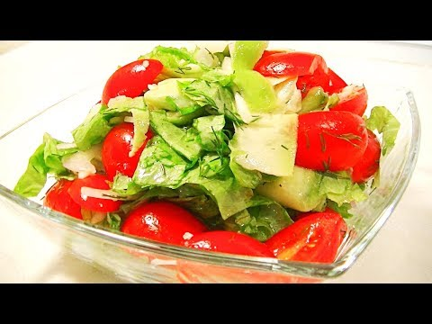 Летний салат из кабачков с помидорами и чесноком.
