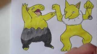 How to draw Pokemon: No.96 Drowzee, No.97 Hypno