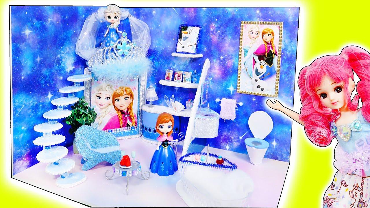リカちゃん エルサとアナのお部屋をDIY❤️ミニチュアのドールハウスを手作り工作✨アナと雪の女王ルーム🍭おもちゃ 人形 アニメ