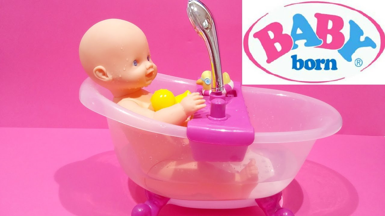 baby born doll lovely doll bath tub set water shower for kids worldwide youtube. Black Bedroom Furniture Sets. Home Design Ideas