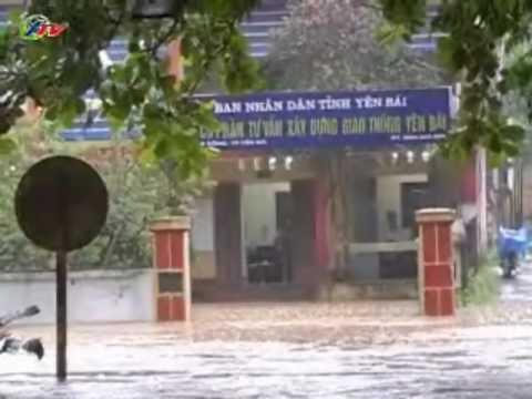 Mưa lớn kéo dài gây ngập úng ở thành phố Yên Bái