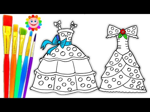 Thumbnail: Coloring Pages Dresses for Girls | Drawing Pages to Learn Colors | How to Paint Videos for Kids