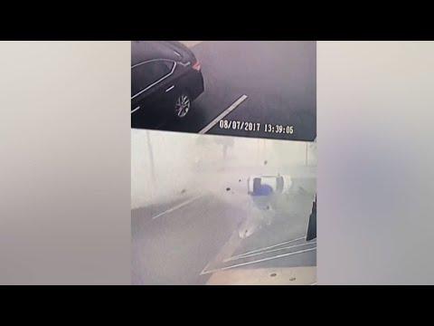 Raw: Eastern Maryland Storm Flips Cars