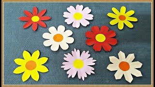 How to make 8 different paper flowers shapes  |  Easy paper cutting flower craft