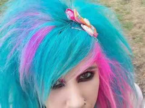 blue purple and pink scene hair