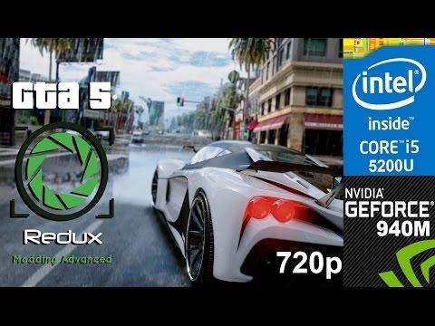 GTA V Redux Mod on HP Pavilion 15-ab032TX, 720p, Core i5 5200u + Nvidia Geforce 940m