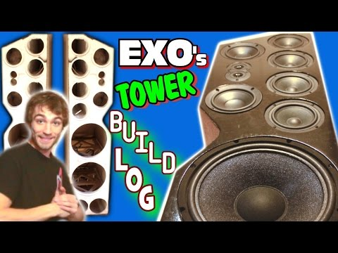 DIY Speaker TOWER BUILD w/ Custom Floor Standing Design & Subwoofers | Homemade Cabinet How To
