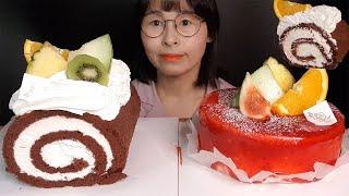 SUB)새콤한 산딸기케익 달콤한 초코초코롤케익디저트 먹…