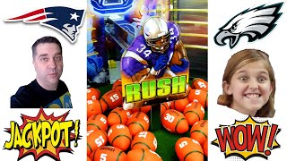 Celebrating Super Bowl LII with a GOLDEN FOOTBALL WIN in GOAL LINE RUSH Arcade Game! Patriots Eagles