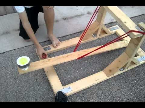 How to make a water balloon launcher for physics youtube for Catapult design plans for physics