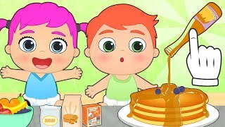 BABY ALEX AND LILY 💥 How to Make Pancakes as Snack | Recipes for Kids