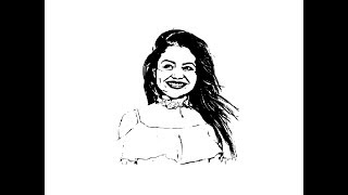 How to draw Neha Kakkar face pencil drawing step by step