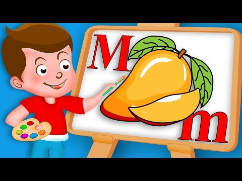 Drawing Alphabet M Letter with Mango fruit Drawing Paint And Colouring For Kids | Kids Drawing TV