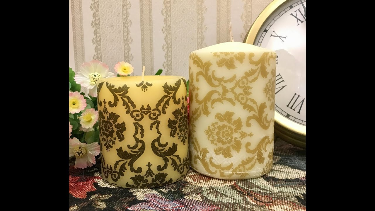 DIY How to decoupage scented candle using Hair Dryer , by Nargis khan, Mr  Muffin Art Studio