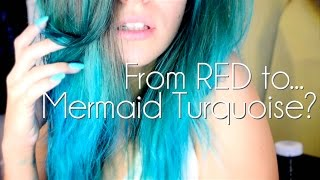 From RED to Mermaid TURQUOISE ♥ // Hair Dye Tutorial // Directions&Blonde Wash