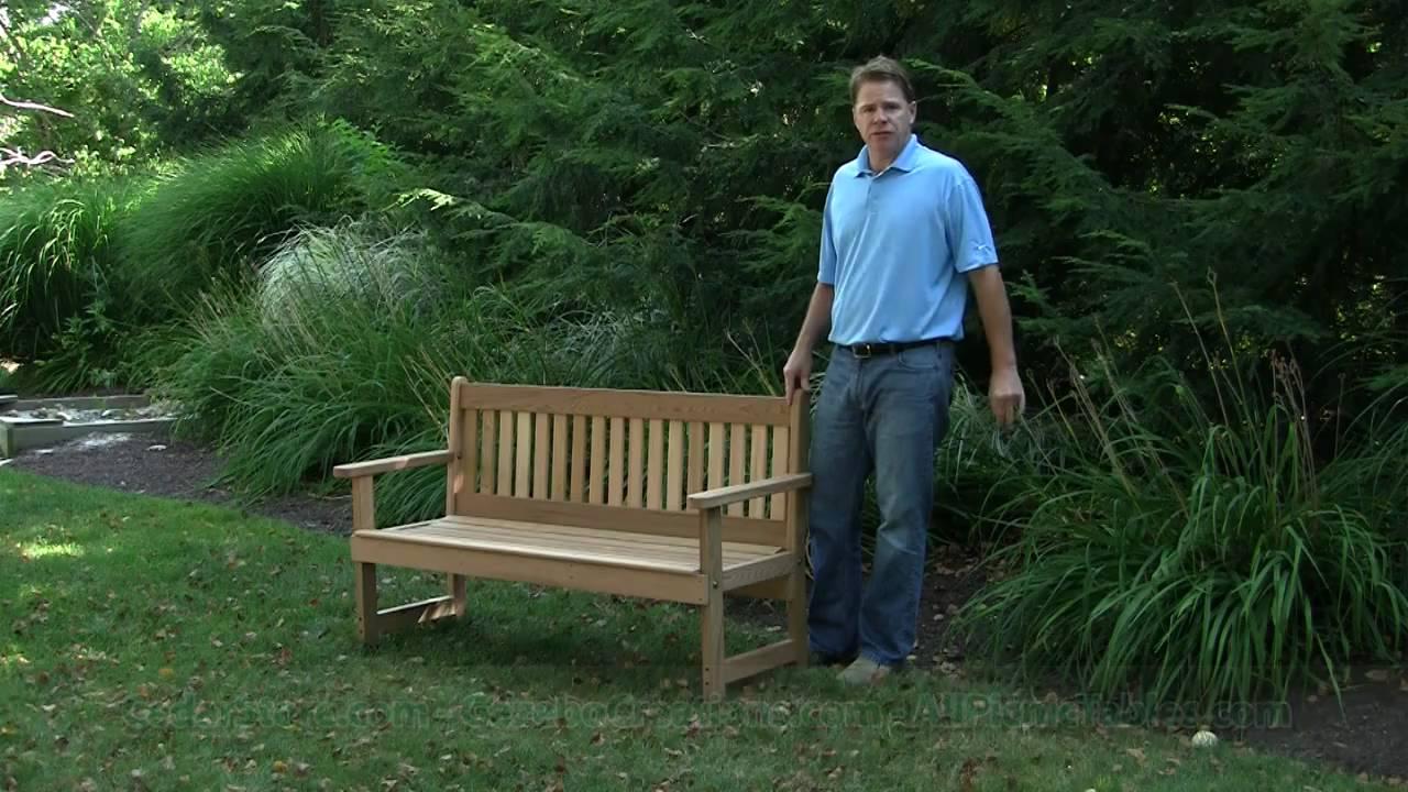 Red Cedar English Garden Bench from CedarStorecom YouTube