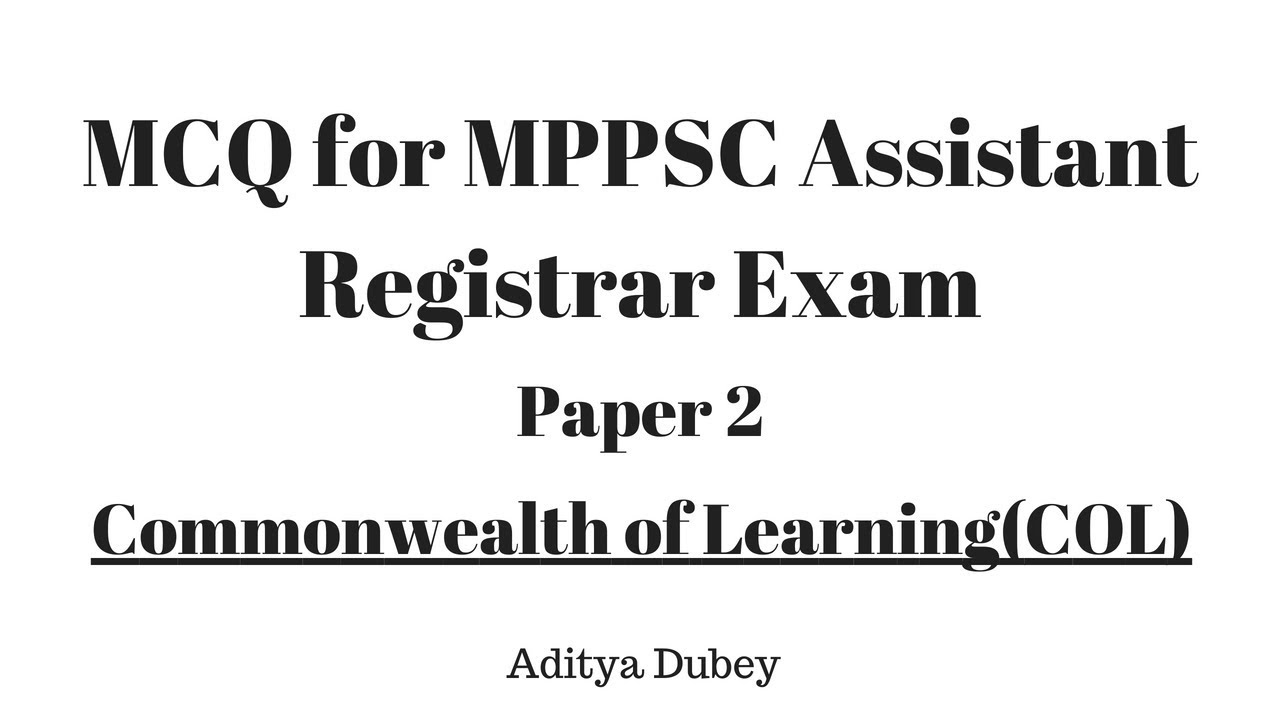 Mcq Assistant Registrar Examination Paper 2 Mppsc Pre 2019 Col By
