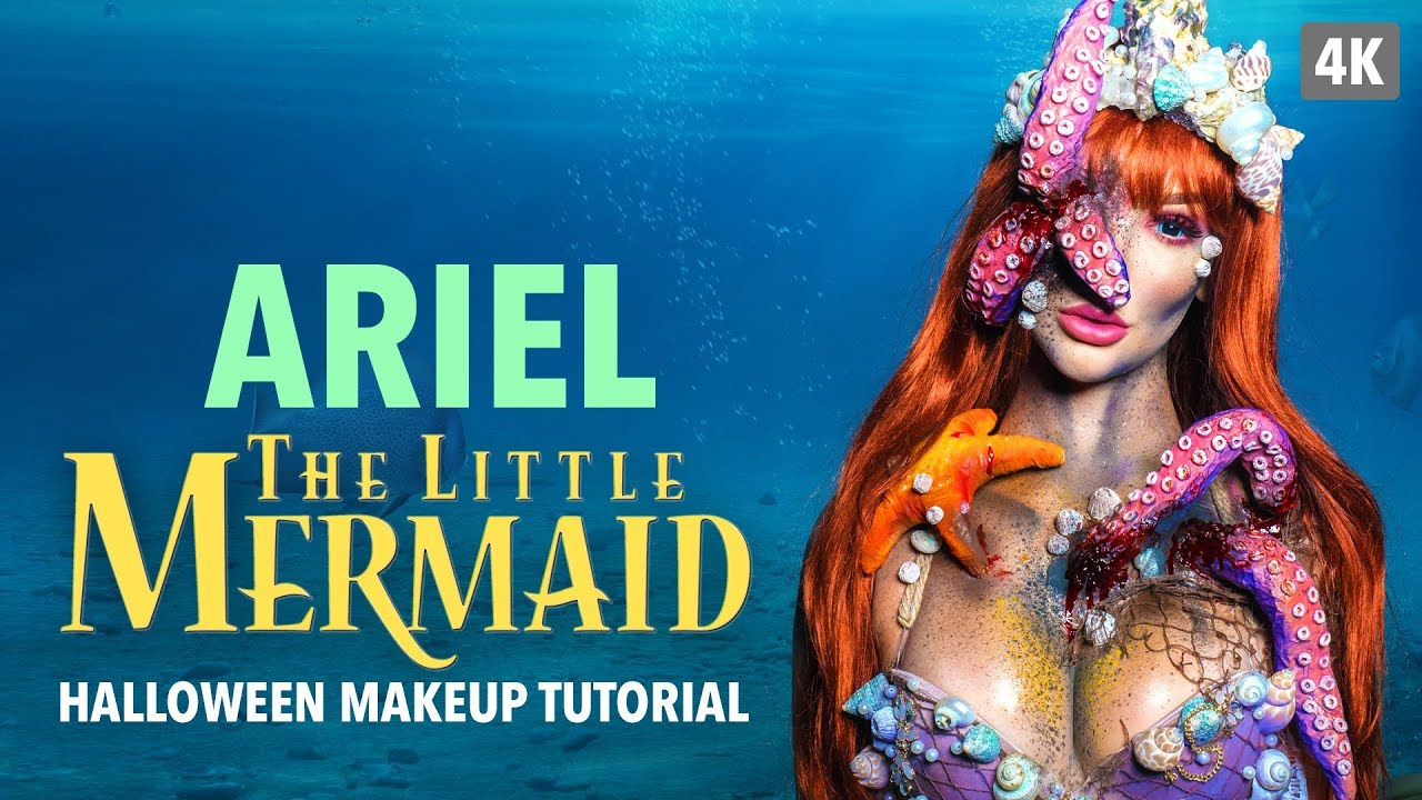 Ariel The Little Mermaid Halloween Makeup Tutorial - YouTube