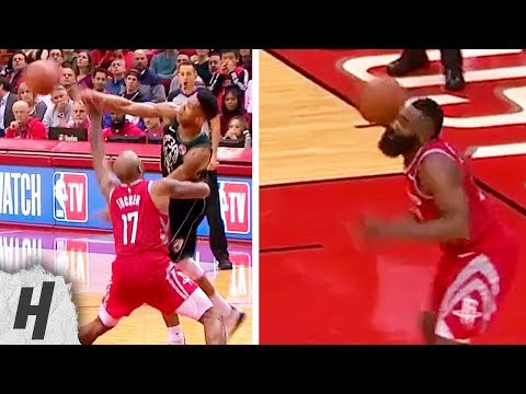 Giannis Antetokounmpo HITS James Harden In The Head with Ball | Bucks vs Rockets - January 9, 2019