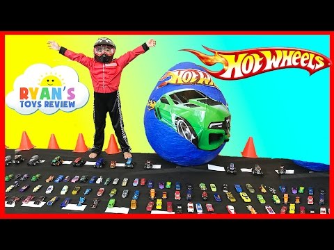 150+ Cars Toys GIANT EGG HOT WHEELS Surprise Toys Opening Disney Cars Kids Video Ryan ToysReview