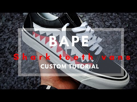 Custom Bape Shark Teeth Vans | Tutorial |On Feet