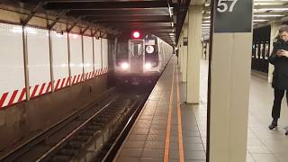 MTA NYC Subway: (N) (Q) (R) (W) trains at 57 St - 7 Ave (BMT Broadway Line)