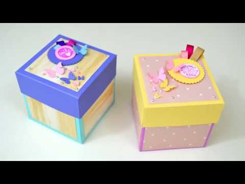 How to - Explosion Box / Exploding Box Card Kit - Scrapbook Gift Ideas - DIY Paper Crafts Tutorials