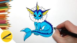 How to Draw Pokemon Vaporeon Step by Step ★ Easy Draw Pokemon